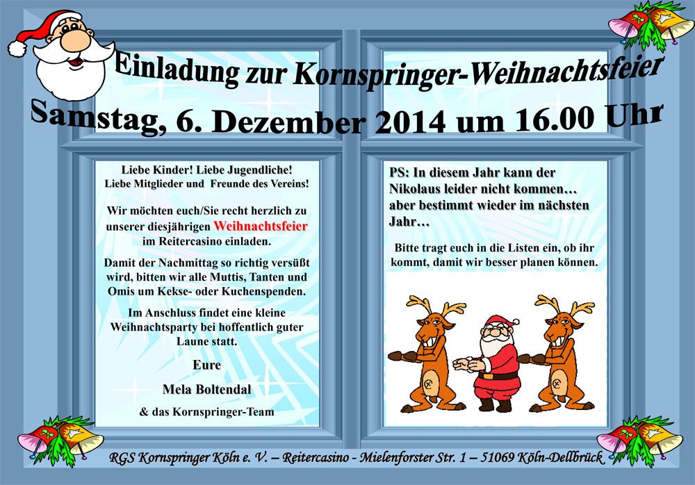 Einladung Weihnachtsfeier Verein.Einladung Zur Kornspringer Weihnachtsfeier Am 06 12 14