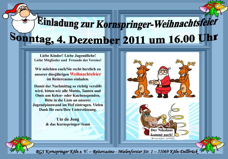 weihnachtsfeier 2011: einladung und anmeldung › reitergemeinschaft, Einladung