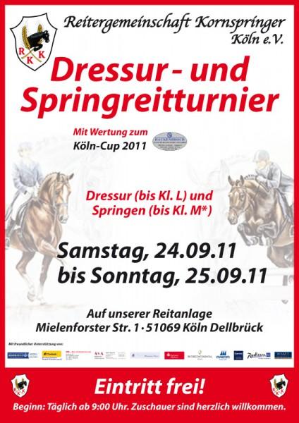 Das offizielle Plakat des Kornspringer Dressur- und Springreitturniers im September 2011